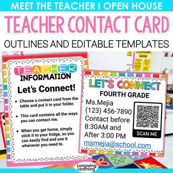 TEACHER CONTACT CARD FOR MEET THE TEACHER EDITABLE