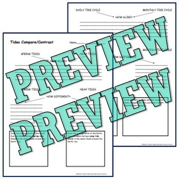 Daily & Monthly Tides Graphic Organizer NGSS MS-ESS1-1 MS-ESS1-2