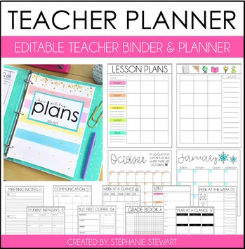 teacher planner 2019 by stephanie stewart teachers pay teachers