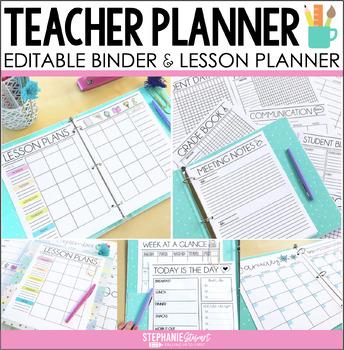 TEACHER PLANNER   TEACHER BINDER EDITABLE