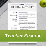 TEACHER RESUME TEMPLATE for MS Word and Apple Pages     In