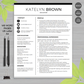 ... TEACHER RESUME Template For MS Word | + Educator Resume Writing Guide  Professional Teaching Resume