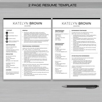 teacher resume template for ms word educator resume writing guide - 2 Page Resume Template