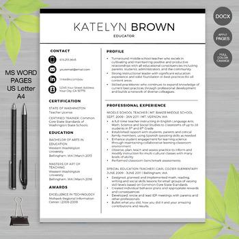 TEACHER RESUME Template MS Word • Google Docs + Educator Resume Writing  Guide