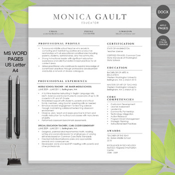 TEACHER RESUME Template For MS Word