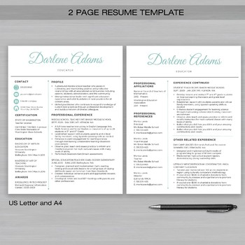 RESUME TEACHER Template For Word and Apple Pages -The Darlene