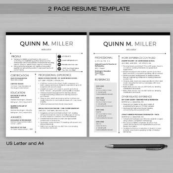 TEACHER RESUME Template For MS Word + Educator Resume Writing Guide - Quinn