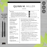 TEACHER RESUME Template For MS Word + Educator Resume Writing Guide - Quinn