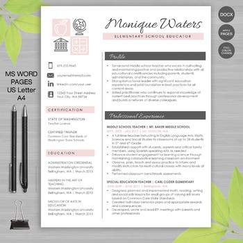 TEACHER RESUME Template For MS Word And Pages