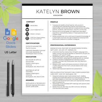 Teacher Resume Template With Google Docs Worksheets Teaching