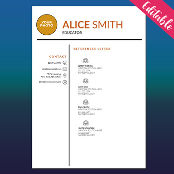 TEACHER RESUME Template with Photo for MS Word, Cover and References Letter