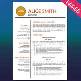 TEACHER RESUME Template with Photo for MS Word, Cover and