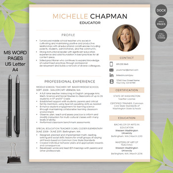 TEACHER RESUME Template with Photo For MS Word | + Educator