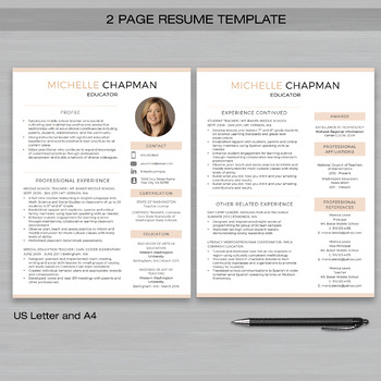 TEACHER RESUME Template with Photo For.