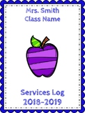 Special Education Services Log! Different Colors or Black/White! Editable!