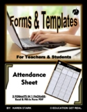 "ATTENDANCE FORM TEMPLATE (Excel) ""Form for Tracking Student Attendance"""