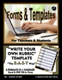 "RUBRIC FORM TEMPLATE (Excel) ""Form for Writing Your Own Rubrics/Assessments"""