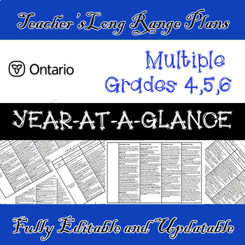 EDITABLE Long Range Plans /3 SUBJECTS /Grades 4/5/6 / Year-At-A-Glance (Ontario)