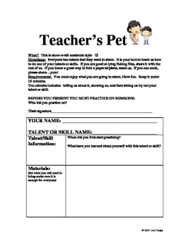 TEACHER'S PET WRITING/PRESENTING ACTIVITY: letting the student be the teacher.
