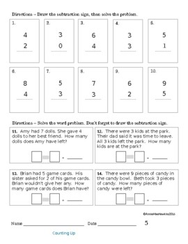 TEACHING & LEARNING SUBTRACTION: 1 and 2 Digit Numbers
