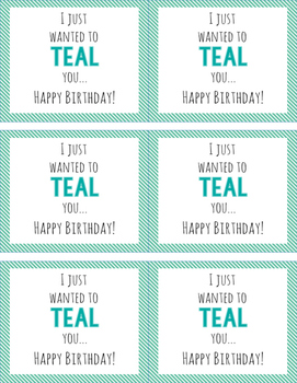 TEAL Birthday Tags