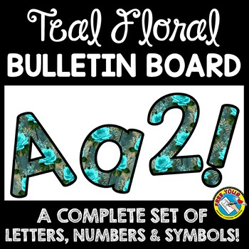TEAL CLASSROOM DECOR BULLETIN BOARD LETTERS PRINTABLE, NUMBERS, ETC
