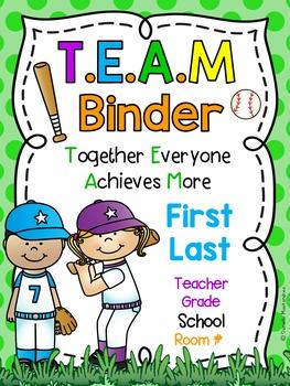 TEAM Binder Covers **EDITABLE**