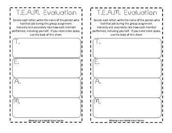 T.E.A.M. ~ Cooperative Group Job Descriptions {Bright Dots}