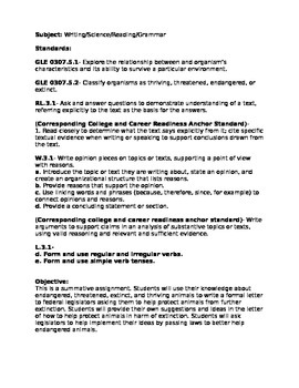 TEAM Evaluation Lesson Plan Writing/Science/Reading/Grammar