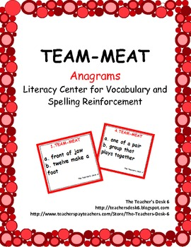 TEAM-MEAT Anagrams Literacy Center for Vocabulary Reinforcement