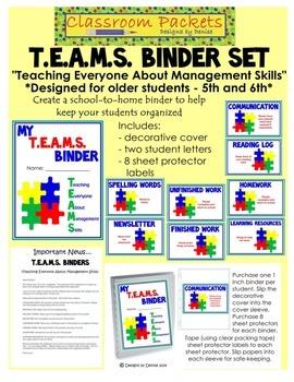 T.E.A.M.S. School-to-Home Communication Binder Set