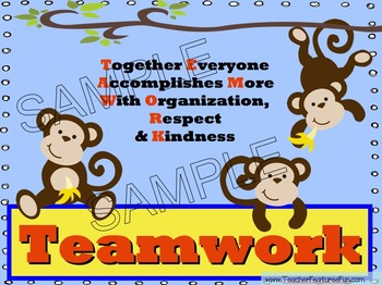 teamwork mini posters and activity book monkey theme by teacher