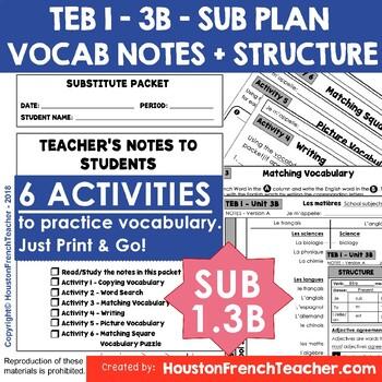 TEB T'es branché 1 Unit 3B - Les matières - Sub Plan Vocab & Structure