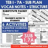 TEB T'es branché 1 Unit 7A - La Maison  Sub Plan Vocab & Structure