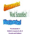 TEB T'es branché? 1 Vocab and Culture Puzzles Unit 2