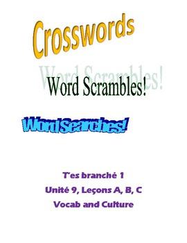 TEB T'es branché? 1 Vocab and Culture Puzzles Unit 9