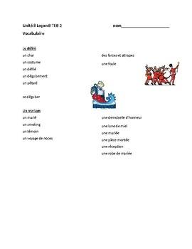 TEB T'es branché? 2 Vocab Lists Unit 8