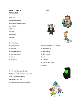 TEB T'es branché? 3 Vocab Lists Unit 1