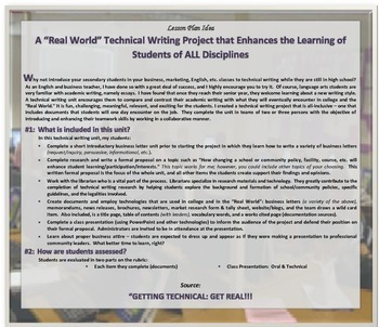 "TECHNICAL WRITING a ""Real World"" LESSON PLAN for Teachers of ALL Disciplines"