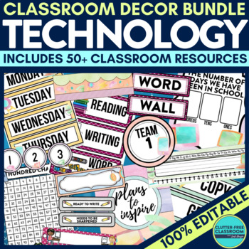 TECHNOLOGY THEME Classroom Decor - EDITABLE Clutter-Free C