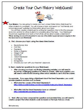 United States History WebQuest Enrichment Project