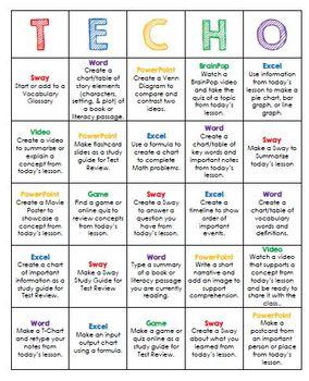 TECHO - Bingo Style Technology Homework Choice Board