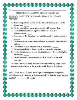 TECTONIC PLATES: AN EARTH SCIENCE TRUE/FALSE QUIZ WITH ANSWER KEY