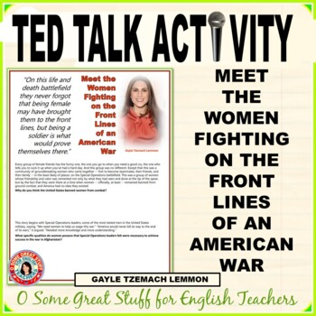TED TALK Gayle Tzemach Lemmon AMERICAN WOMEN IN ARMY SPECIAL OPERATIONS
