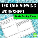 TED Talk Follow Along Viewing Worksheet
