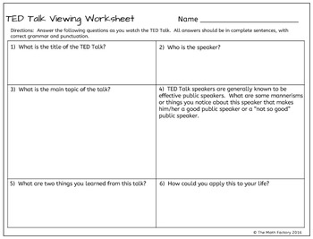 ted talk follow along viewing worksheet by the math factory tpt. Black Bedroom Furniture Sets. Home Design Ideas