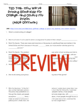 TED Talk- How We're Priming Some Kids for College- & Others for Prison (Goffman)