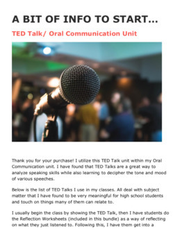 TED Talk / Oral Communication / Public Speaking Unit