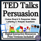 TED Talk Reading and Writing Rhetorical Analysis Activities & Choice Board