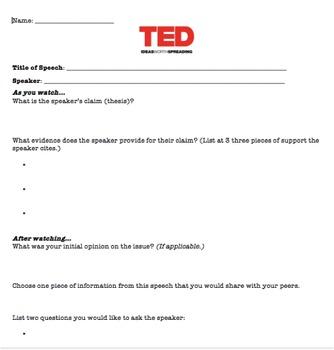 TED Talk Worksheet by Gina Curtis | Teachers Pay Teachers